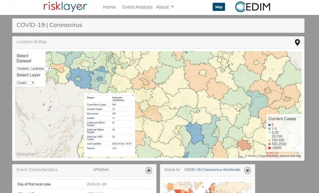 Screenshot einer Karte mit Informationen zur Corona-Pandemie auf der Webseite von Risklayer.